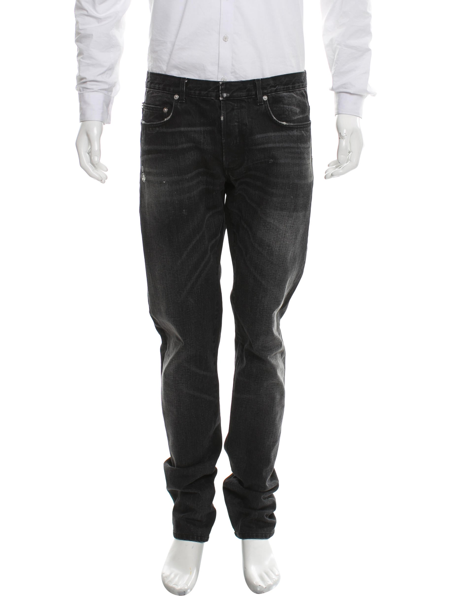 dior homme distressed skinny jeans clothing hmm24244 the realreal. Black Bedroom Furniture Sets. Home Design Ideas