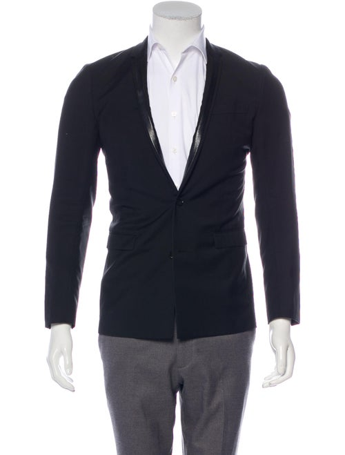 Dior Homme Leather-Trimmed Wool Blazer black