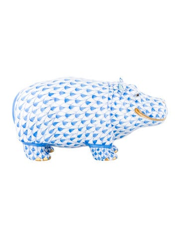 Herend Hand-Painted Hippo Figurine None