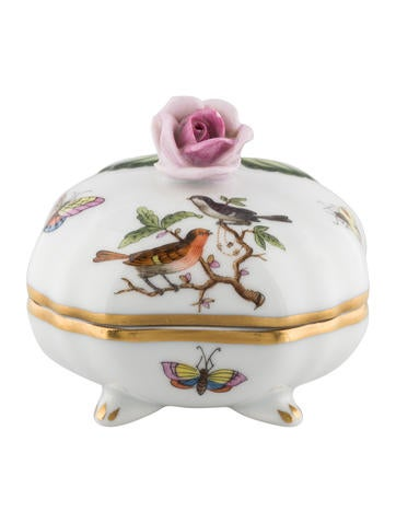 Herend Rothschild Bird Bonbon with Rose None