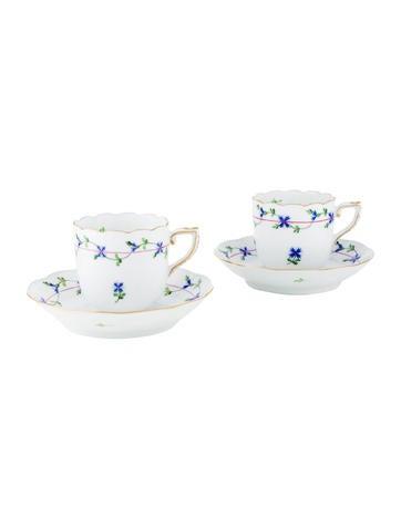 Herend Blue Garland Flat Demitasse Cup & Saucer Set None