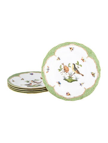 Herend Rothschild Bird Borders Dessert Plates None