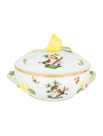 Herend Rothschild Bird Covered Vegetable Dish None