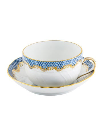 Herend Fish Scale Canton Cup & Saucer None