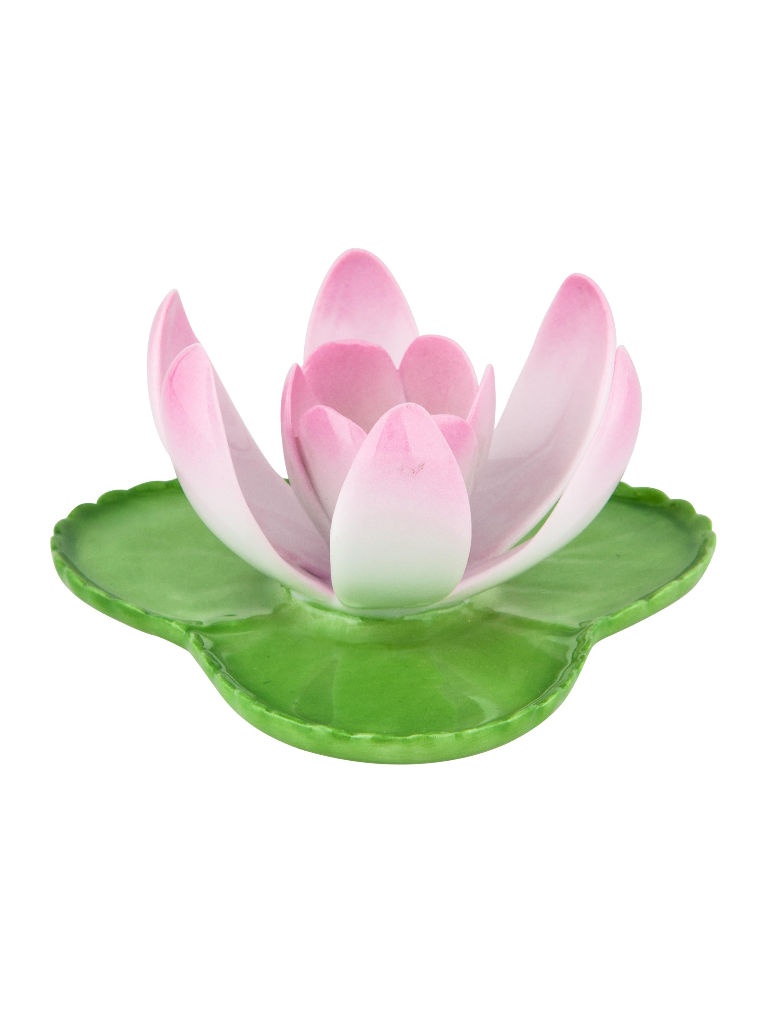 Herend Set Of 4 Porcelain Flowers On Lily Pads Decor And