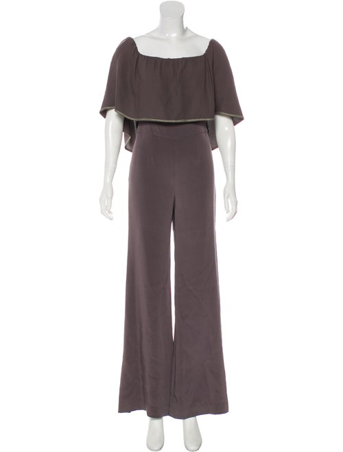 Haney Ruffled Wide-Leg Jumpsuit metallic
