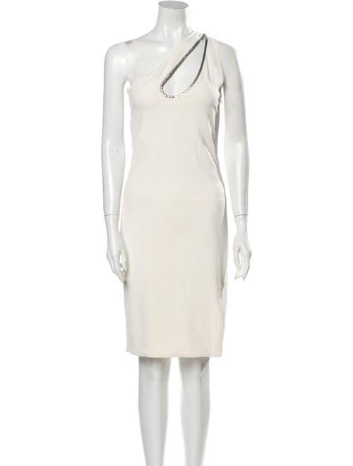 Haney One-Shoulder Knee-Length Dress White