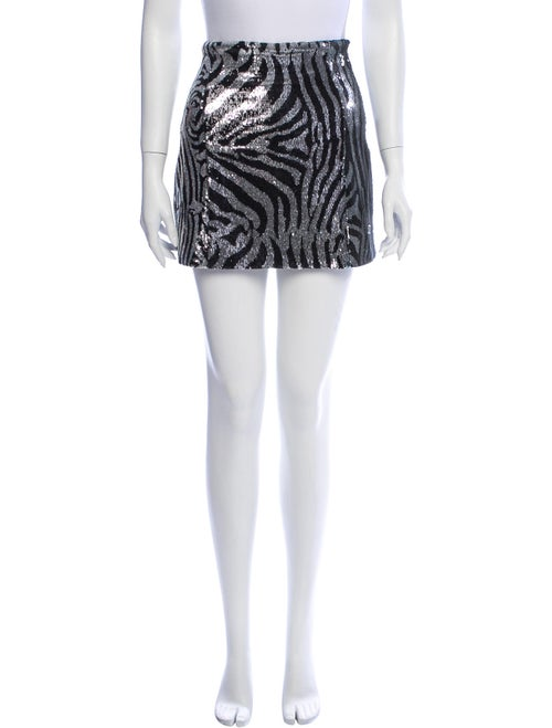 Halpern Printed Mini Skirt Metallic