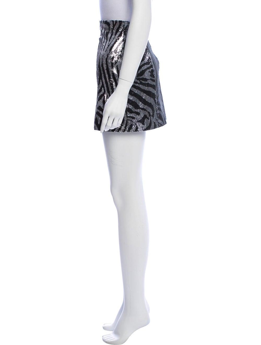 Halpern Printed Mini Skirt Metallic - image 2
