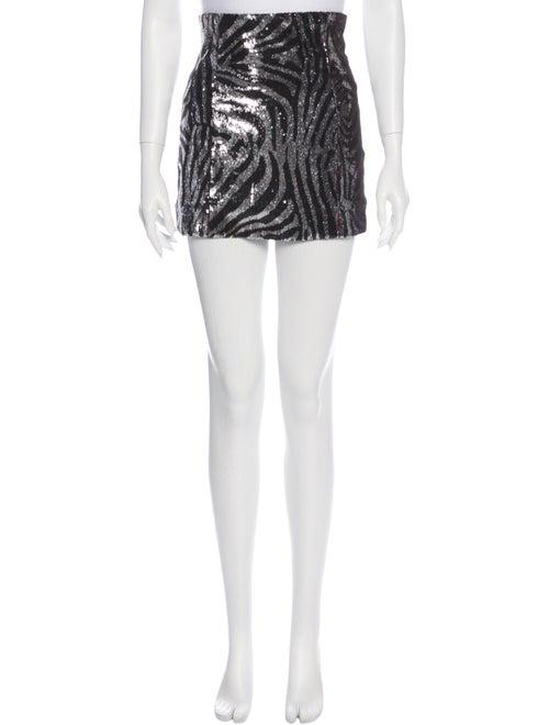 Halpern Printed Mini Skirt Black