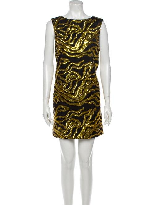 Halpern Printed Mini Dress w/ Tags Gold