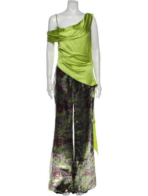 Halpern Printed Asymmetrical Jumpsuit Green
