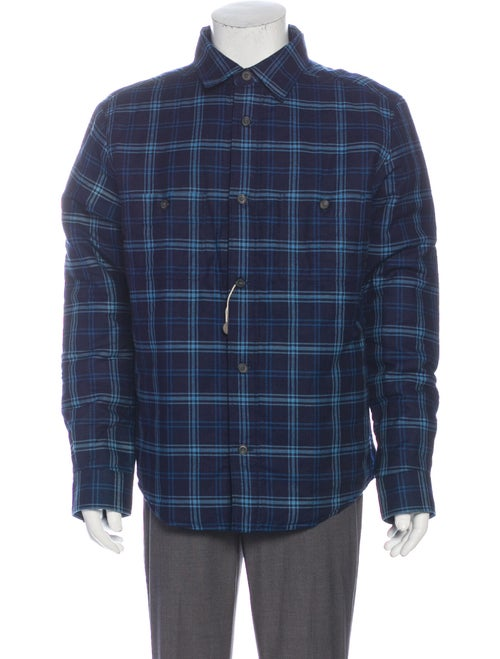 Hardy Amies Flannel Plaid Print Jacket Blue