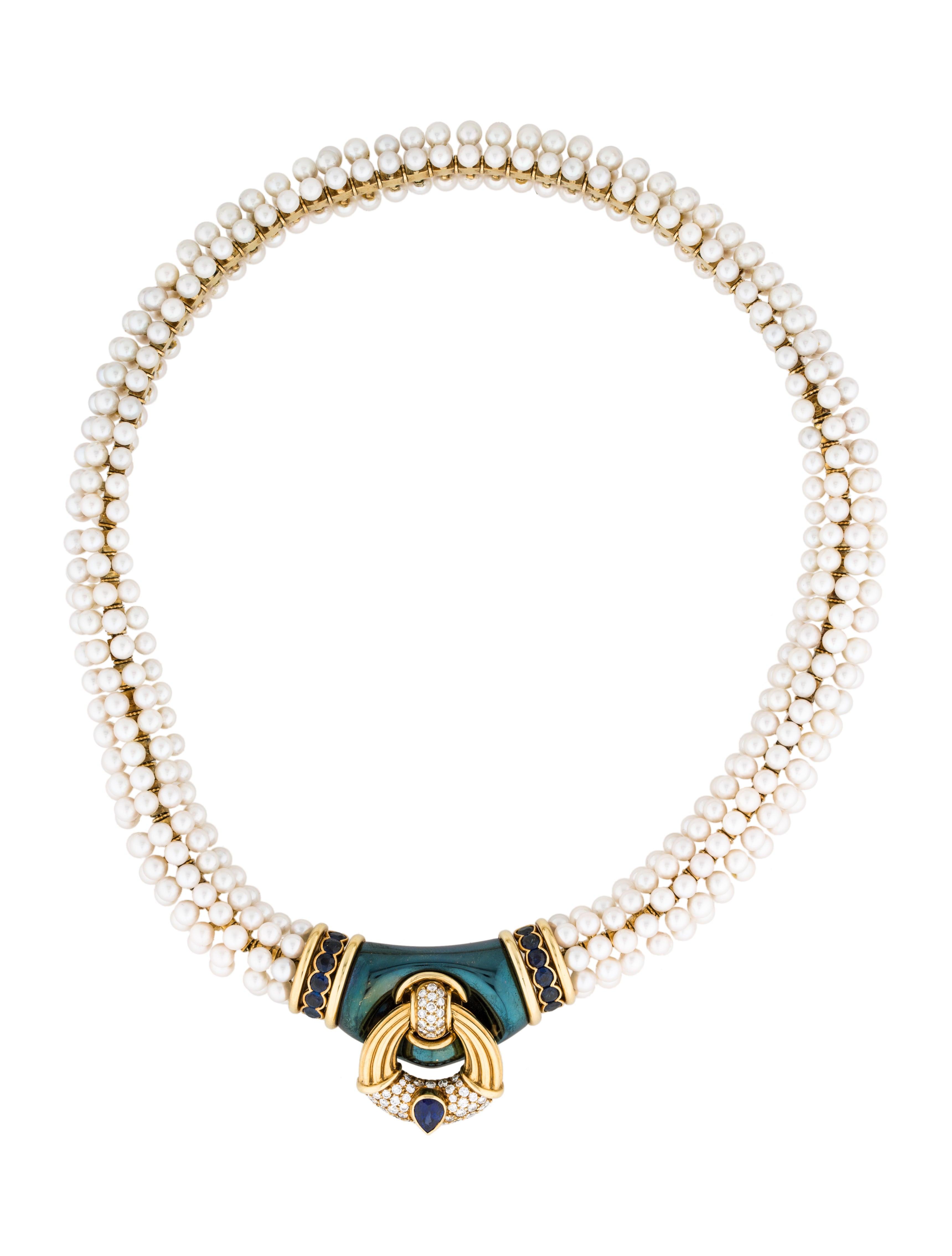 Harry Winston 18K Pearl Diamond & Sapphire Necklace Necklaces