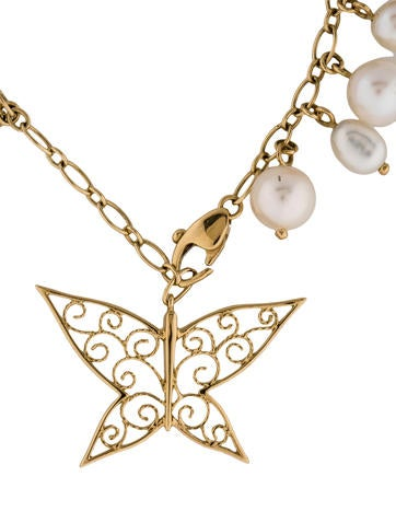 18K Butterfly and Pearl Charm Bracelet