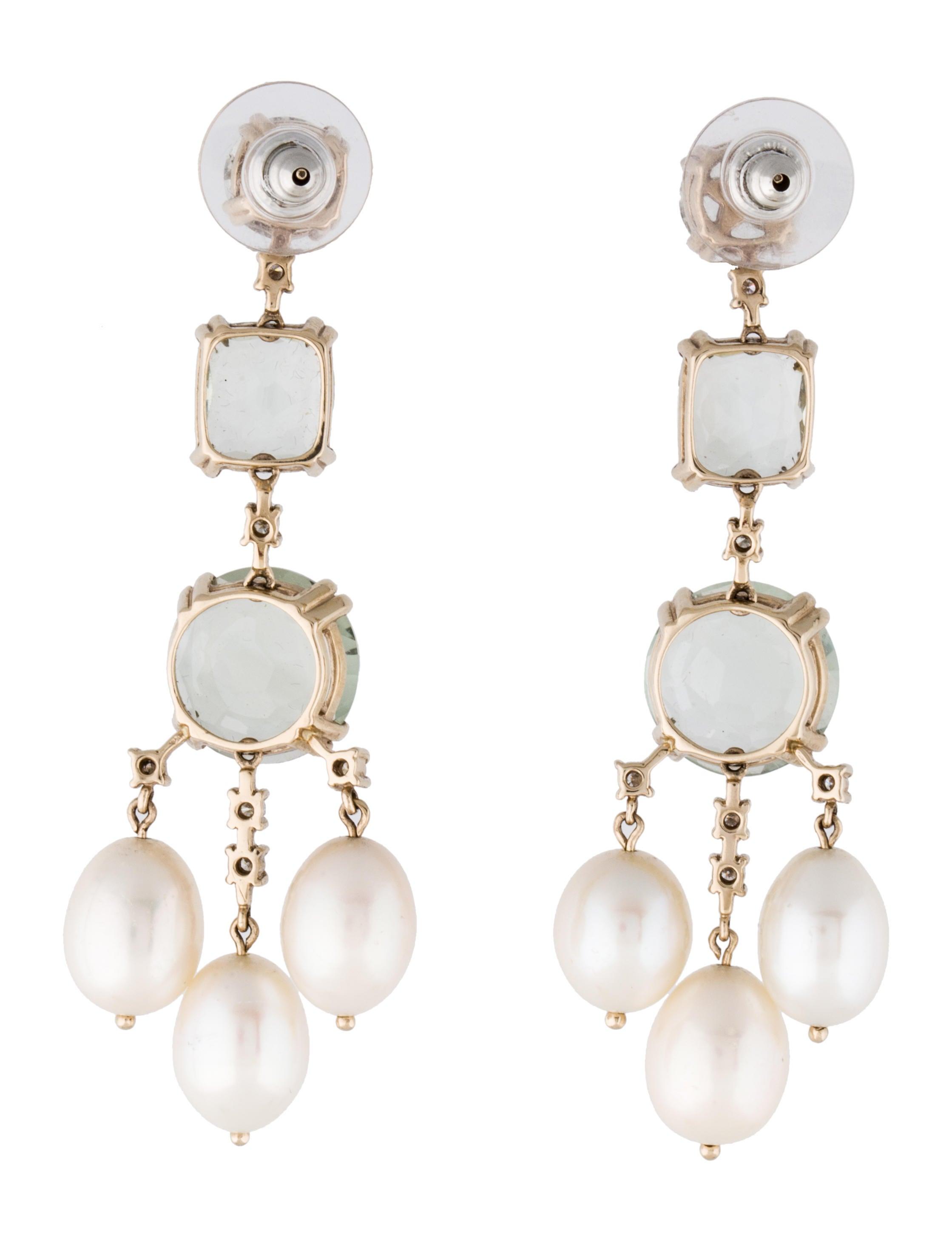 h prasiolite pearl and earrings earrings
