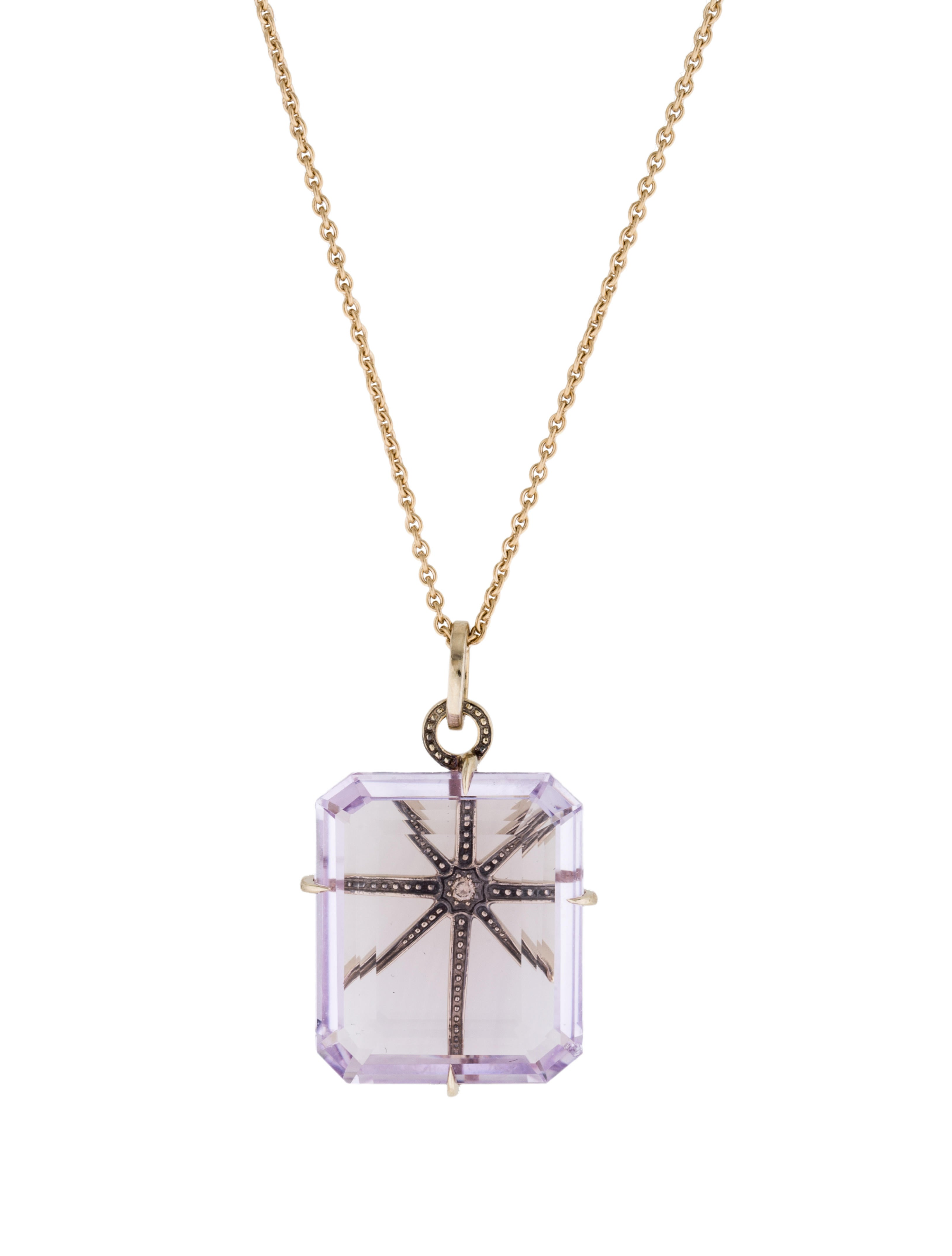 H Stern 18K Amethyst & Diamond Highlight Stars Pendant Necklace
