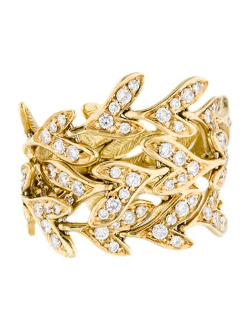 H.Stern 18K Diamond Leaf Link Band