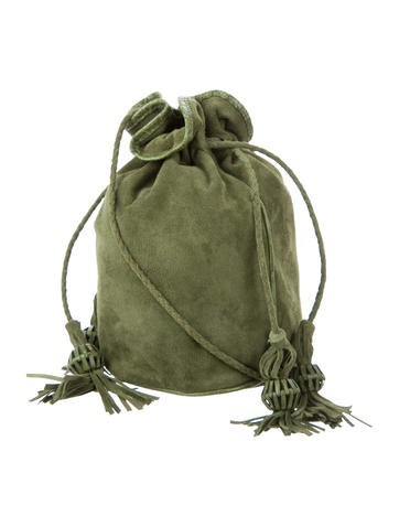 Suede & Crocodile Small Drawstring Bag