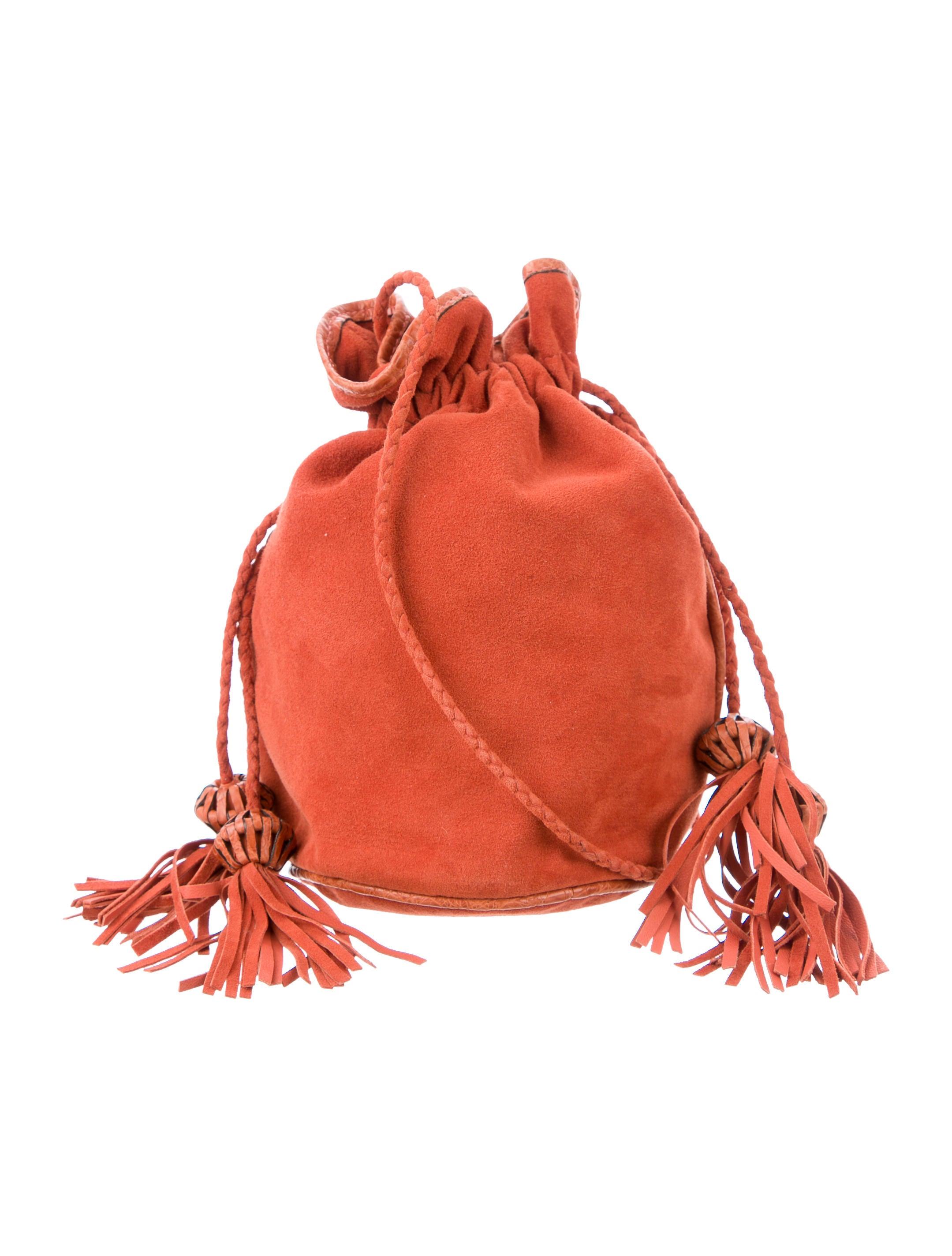 Suede Crocodile Small Drawstring Bag