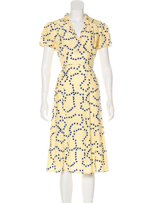HVN Silk Heart-Print Dress
