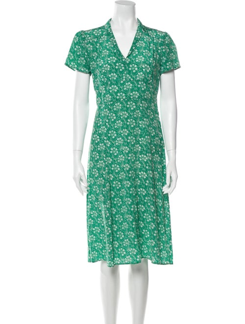 HVN Silk Midi Length Dress Green