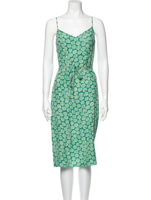HVN Lily Slip Midi Length Dress Green