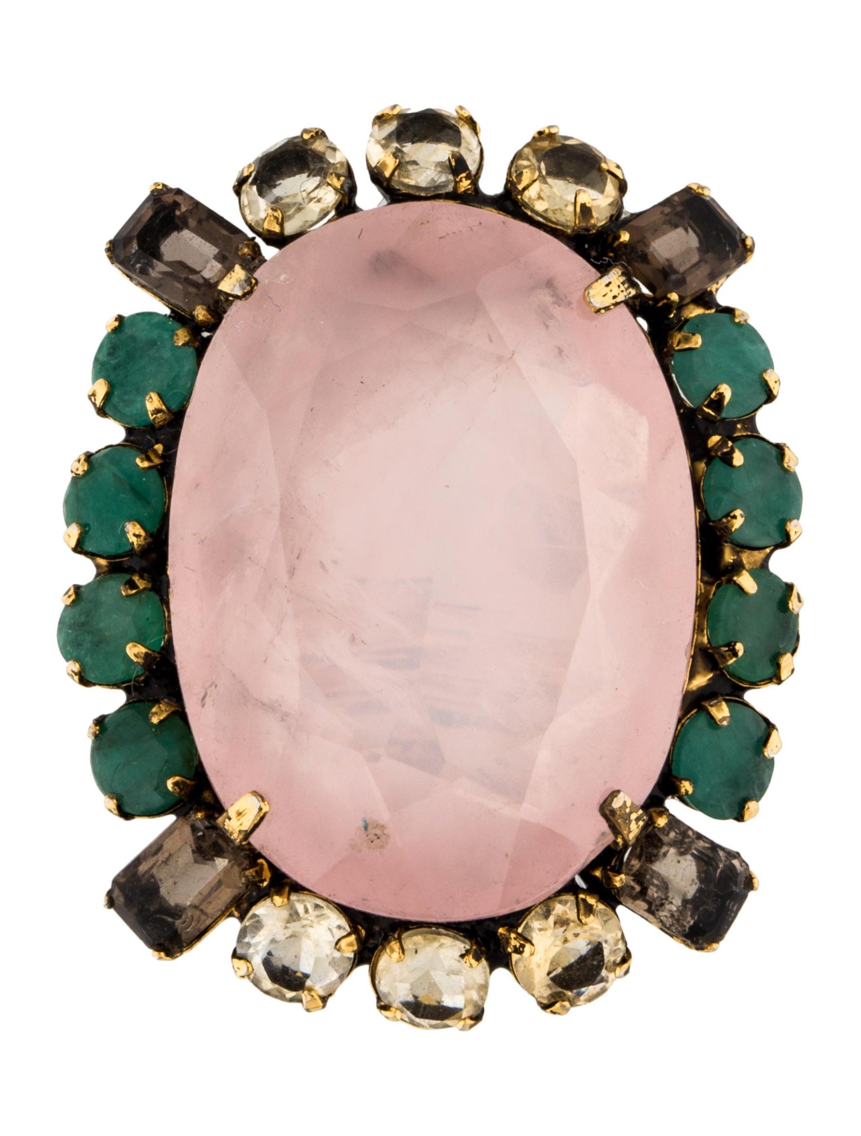 Iradj Moini Rose Quartz Emerald Amp Topaz Cocktail Ring