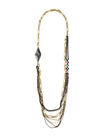 Iosselliani Hematine & Crystal Long Multistrand Necklace None