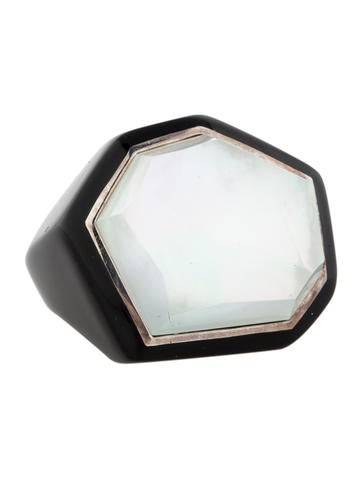 Black Resin Ring with Mother of Pearl Doublet