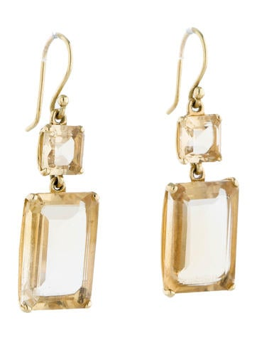 emerald cut allproducts small large rosanne pugliese rp citrine faceted lemon earrings