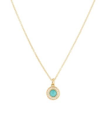 18K Lollipop Mini Turquoise and Diamonds Pendant Necklace