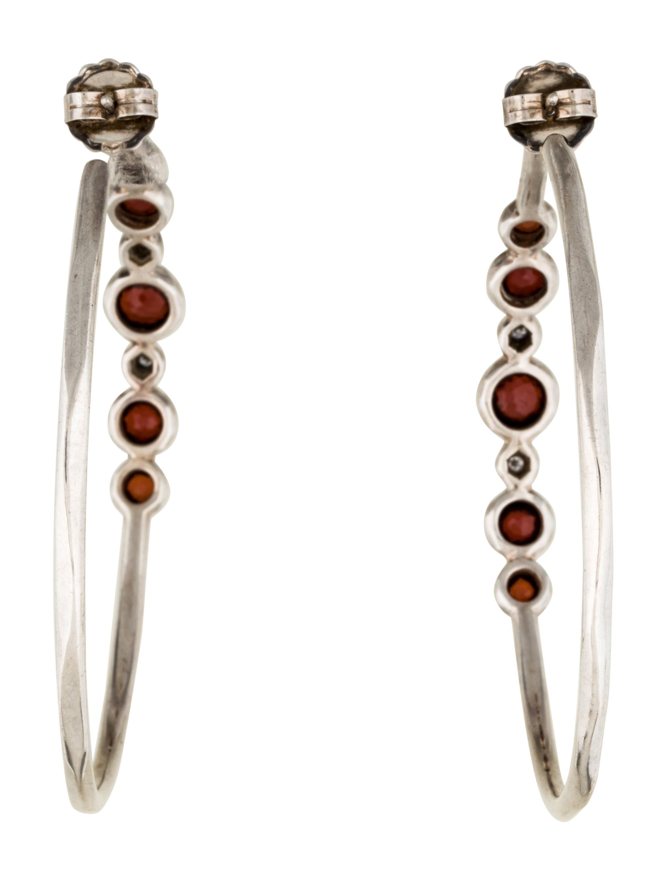 Ippolita Garnet and Diamond Hoop Earrings Earrings IPP