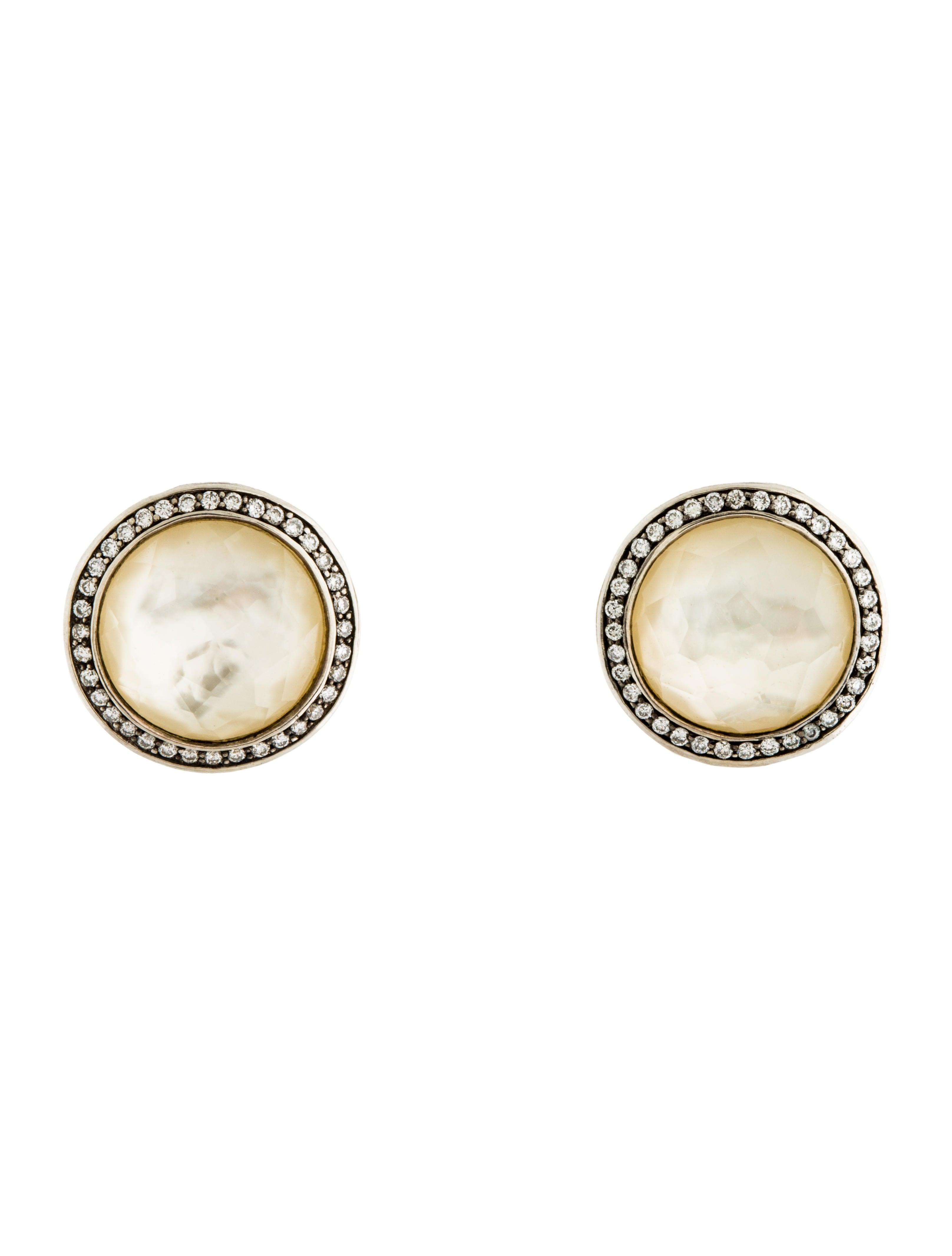 Ippolita Diamond Mother Of Pearl Quartz Doublet Stud Earrings Ipp26809 The Realreal