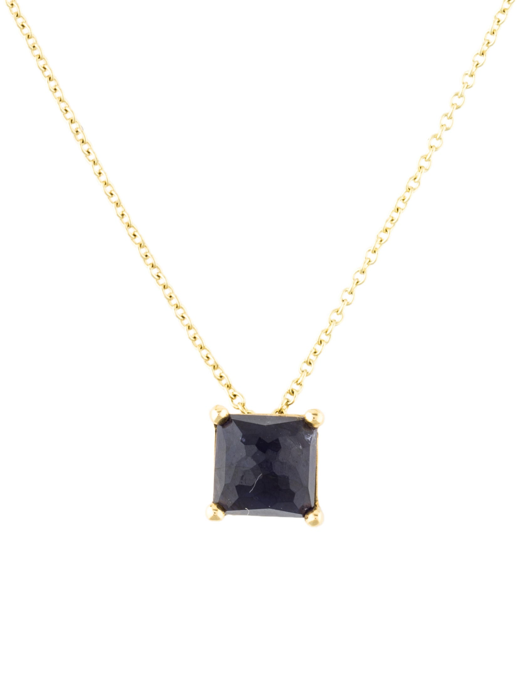 Ippolita 18k Gold Rock Candy Mini Single Square Sliding Pendant Necklace in Iolite