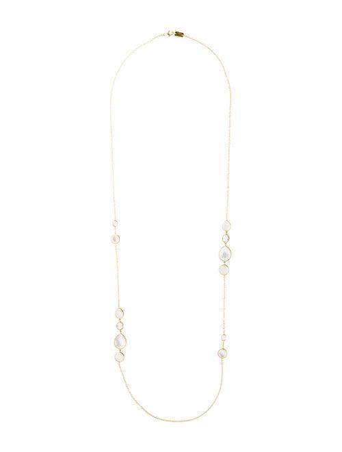 3810ff8c20a79 18K Mother of Pearl Doublet, Quartz & Moonstone Station Necklace