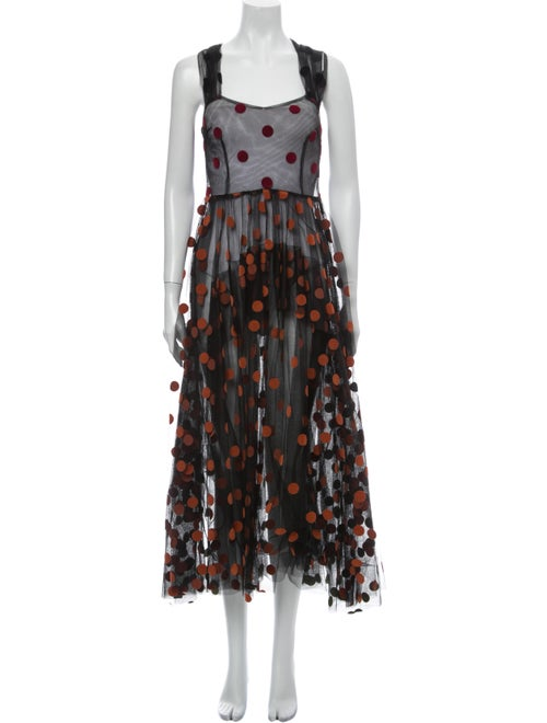 Isa Arfen Polka Dot Print Long Dress Black