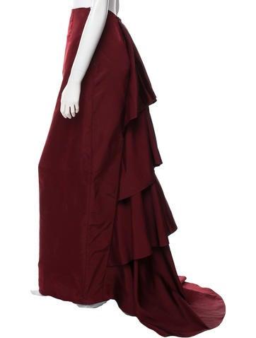 Silk Ruffle-Trimmed Skirt