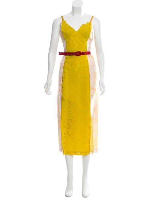 Rosie Assoulin Silk Devoré Dress Yellow
