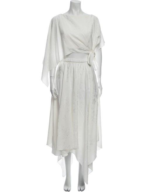 Rosie Assoulin Floral Print Skirt Set White