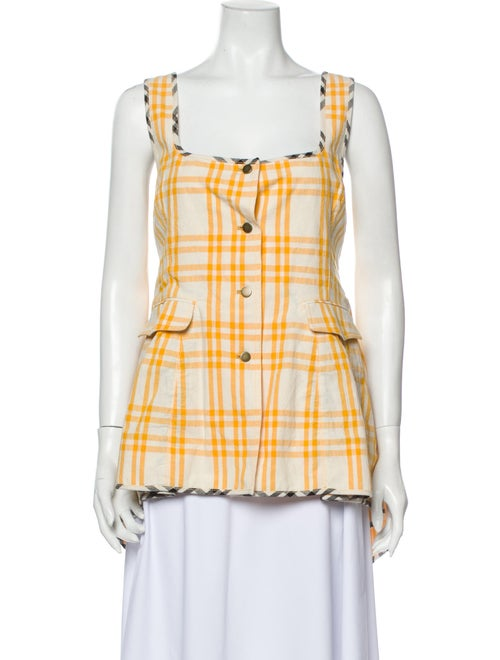 Rosie Assoulin Plaid Print Square Neckline Button-