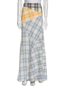 Rosie Assoulin Plaid Print Long Skirt