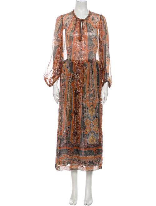 Isabel Marant Silk Long Dress Orange