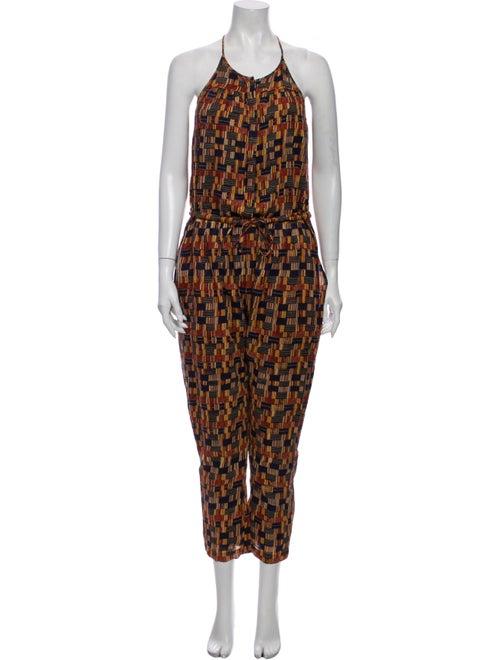Isabel Marant Printed Halterneck Jumpsuit Orange