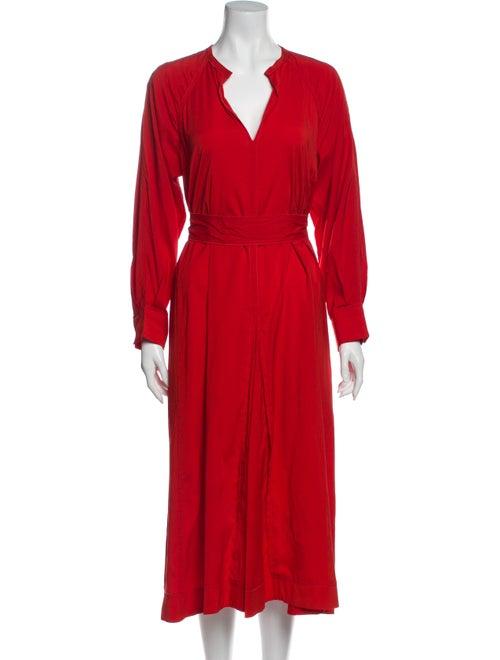 Isabel Marant Silk Long Dress Red