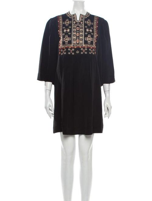 Isabel Marant Silk Mini Dress Black