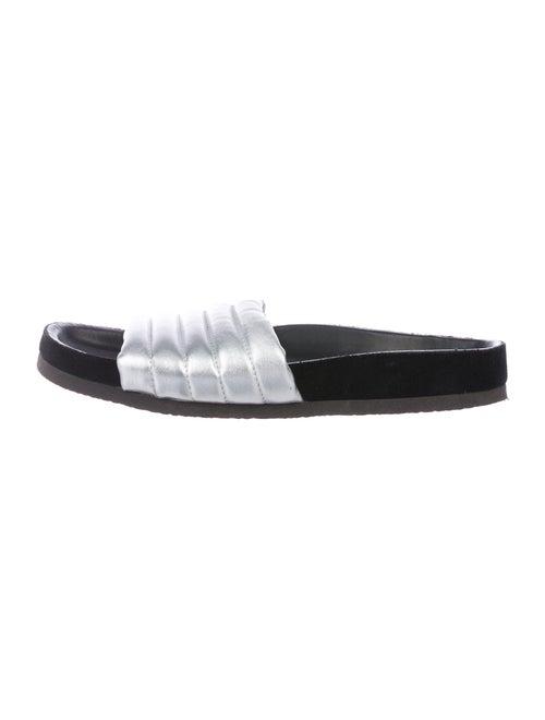 Isabel Marant Leather Slides Silver