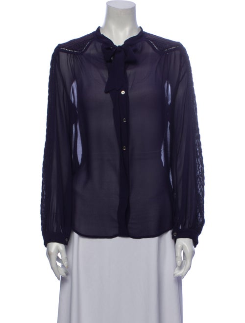 Isabel Marant Silk Long Sleeve Button-Up Top Purpl