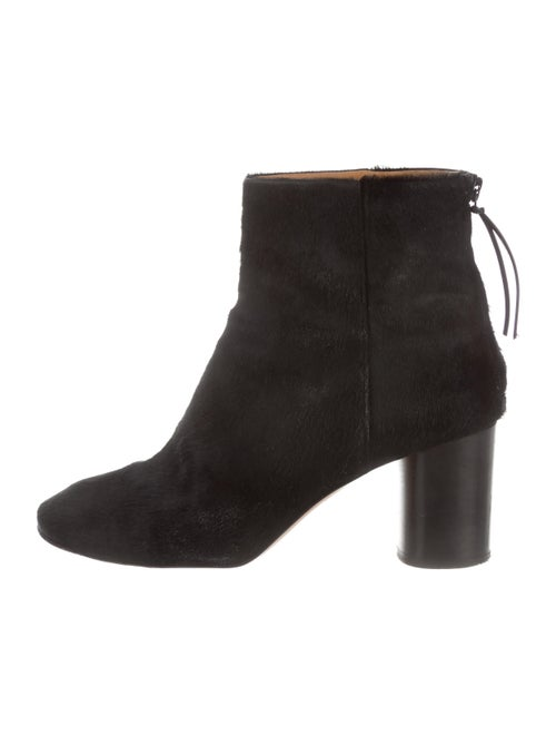 Isabel Marant Ponyhair Square-Toe Ankle Boots Blac