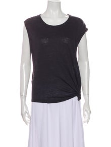 Isabel Marant Linen Scoop Neck T-Shirt